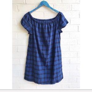 Madewell Off Shoulder Linen Cotton Plaid Dress